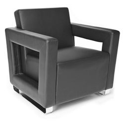 """Faux Leather Square Arm Reception Chair - 29""""W"""