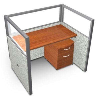 """Single Workstation with Clear Top and Mobile File - 48""""W x 47""""H"""