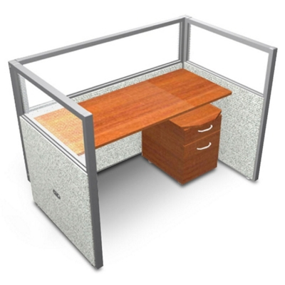 """Single Workstation with Clear Top and Mobile File - 60""""W x 47""""H"""
