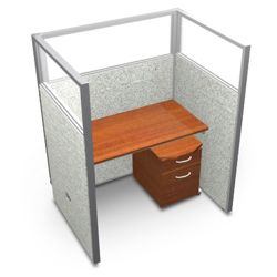"""Single Workstation with Clear Top and Mobile File - 48""""W x 63""""H"""