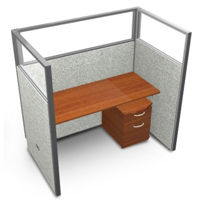 """Single Workstation with Clear Top and Mobile File - 60""""W x 63""""H"""