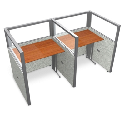 """Double Workstation with Clear Top - 74""""W x 47""""H"""