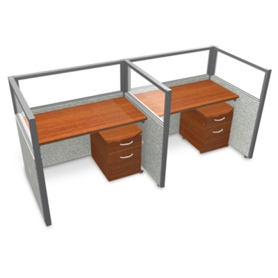 """Double Workstation with Clear Top and Mobile File - 96""""W x 47""""H"""