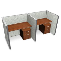 "Double Vinyl Workstation with Mobile File - 96""W x 47""H"
