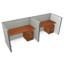 "Double Vinyl Workstation with Mobile File - 126""W x 47""H"