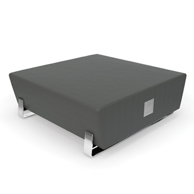 "Square Vinyl Bench with Chrome Legs and Charging Outlets - 48""W"