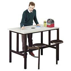 "Standing Height Table with Two Swivel Seats - 48""W"
