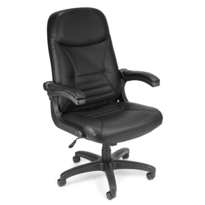 Mobile Arm Leather High Back Chair