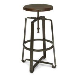 Tall Adjustable Height Solid Wood Seat Stool