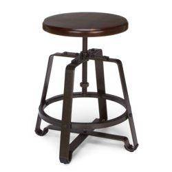 Small Adjustable Height Solid Wood Seat Stool