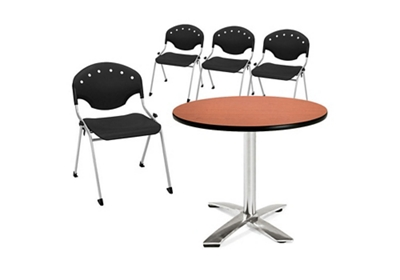 Breakroom Table and Four Armless Stack Chairs