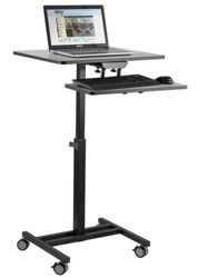 Mobile Sit & Stand Cart with Keyboard Tray