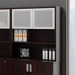 "36"" Bookcase Hutch with Silver Doors"