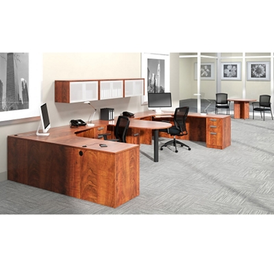 """Contemporary Two Person Workstation with Wall Storage - 180""""W x 72""""D"""