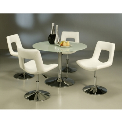 Modern Glass Round Conference Table and Chairs Set 44 Diameter