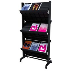 Mobile Double-Sided Literature Rack with Six Shelves
