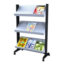 Mobile Literature Rack with Three Shelves