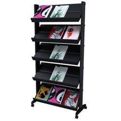 Mobile Literature Rack with Five Shelves