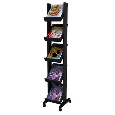 Mobile Literature Rack - Five Shelves