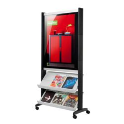 2 Shelf Free Standing Mobile Magazine Rack with Poster Display