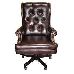 Scroll Arm Tufted Leather Desk Chair