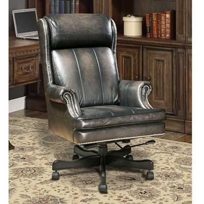 Desk Chair with Nailhead Trim in Leather