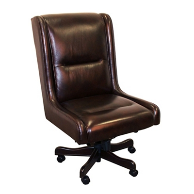 Armless Desk Chair in Leather