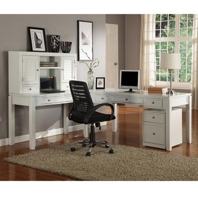 """L-Desk with Hutch and File - 77""""W"""