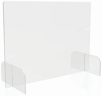 """Counter Top Barrier with Polycarbonate Full Shield with Feet - 31""""W x 23""""H"""