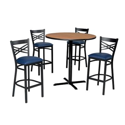 Cross Back Stool & Bar Table Set