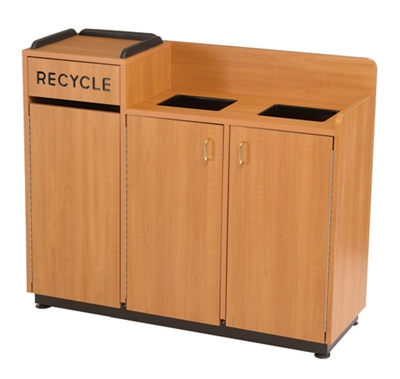 """Laminate Three-Section Recycling Center - 18""""W x 49""""D"""