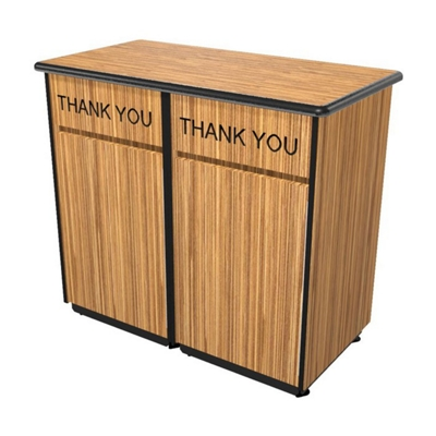"Laminate ""Thank You"" Double Waste Receptacle - 26""W x 47""D"