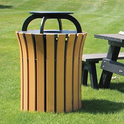 Capped Trash Receptacle - 33 Gallon Capacity