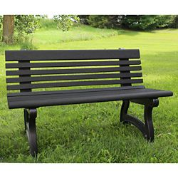"Recycled Plastic Outdoor Bench with Back - 48""W"