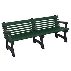 """Recycled Plastic Outdoor Bench with Back and Arms - 72""""W"""