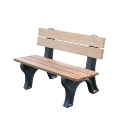 Recycled Plastic Outdoor Bench with Economizer Traditional Back 4'