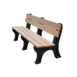 Recycled Plastic Outdoor Bench with Economizer Traditional Back 6'