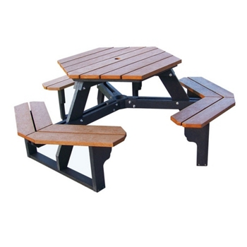 Recycled Plastic Hexagonal Picnic Table And More Lifetime - Recycled plastic hexagonal picnic table