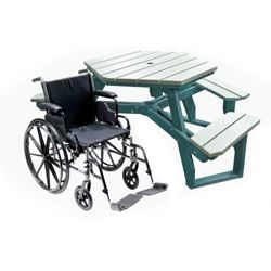 ADA Accessible Recycled Plastic Hexagonal Picnic Table