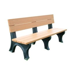 Recycled Plastic Traditional Outdoor Bench with Back 6'