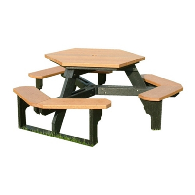 Recycled Plastic Standard Open Hexagonal Picnic Table