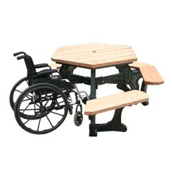 ADA accessible Standard Plaza Hexagonal Picnic Table