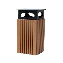 Recycled Plastic Covered Outdoor Trash Receptacle 40 Gallon