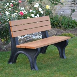 Deluxe Recycled Plastic Bench with Back 4'
