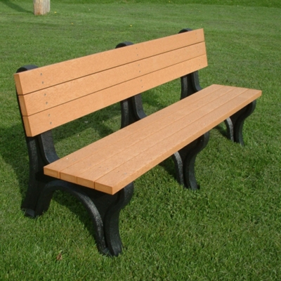 Deluxe Recycled Plastic Bench with Back 6'