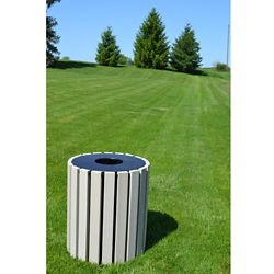 Round Trash Receptacle 33 Gallon Capacity