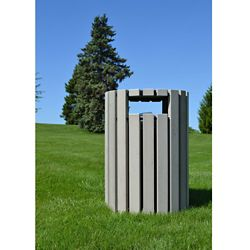 Round Trash Receptacle with Rain Guard 33 Gallon Capacity