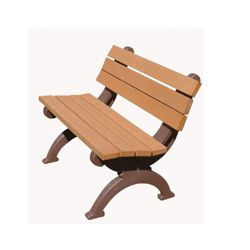 Recycled Plastic Outdoor Bench with Back - 4 Ft