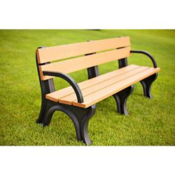 Recycled Plastic Economy Outdoor Bench with Arms - 6 Ft