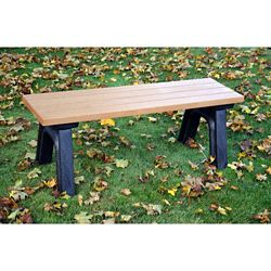 Recycled Plastic Outdoor Flat Bench - 4 Ft